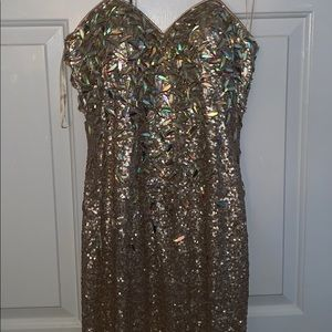 Crystal Jeweled Gold Prom Dress